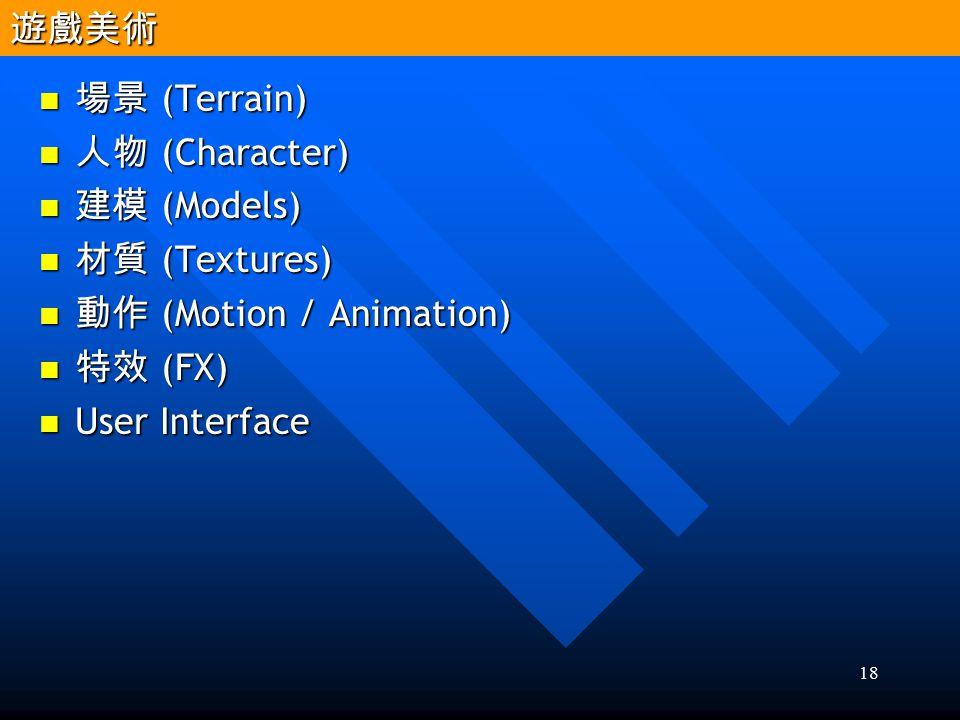 18 場景 (Terrain) 場景 (Terrain) 人物 (Character) 人物 (Character) 建模 (Models) 建模 (Models) 材質 (Textures) 材質 (Textures) 動作 (Motion / Animation) 動作 (Motion / An