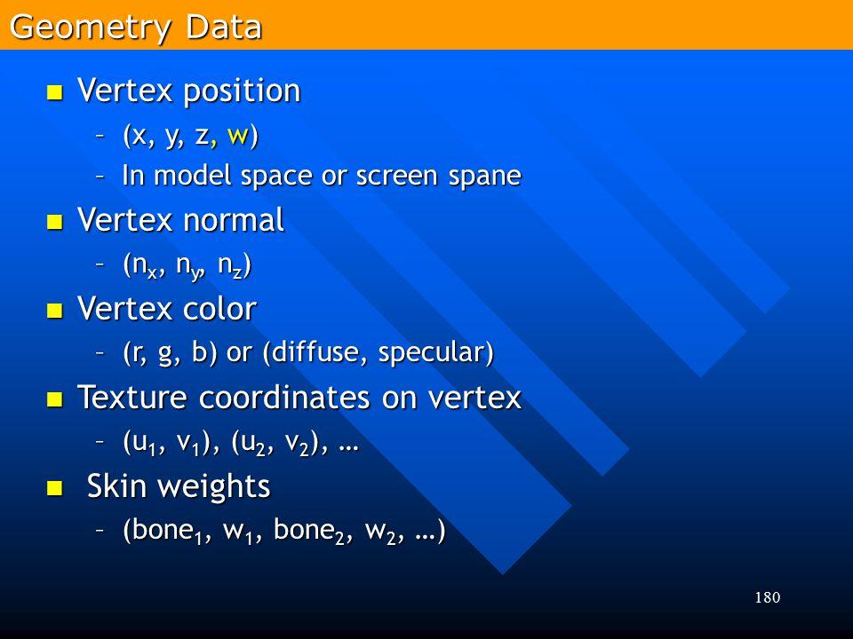 180 Vertex position Vertex position –(x, y, z, w) –In model space or screen spane Vertex normal Vertex normal –(n x, n y, n z ) Vertex color Vertex co
