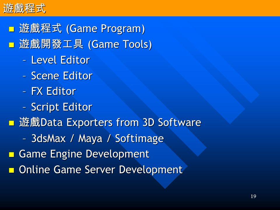 19 遊戲程式 (Game Program) 遊戲程式 (Game Program) 遊戲開發工具 (Game Tools) 遊戲開發工具 (Game Tools) –Level Editor –Scene Editor –FX Editor –Script Editor 遊戲 Data Expor