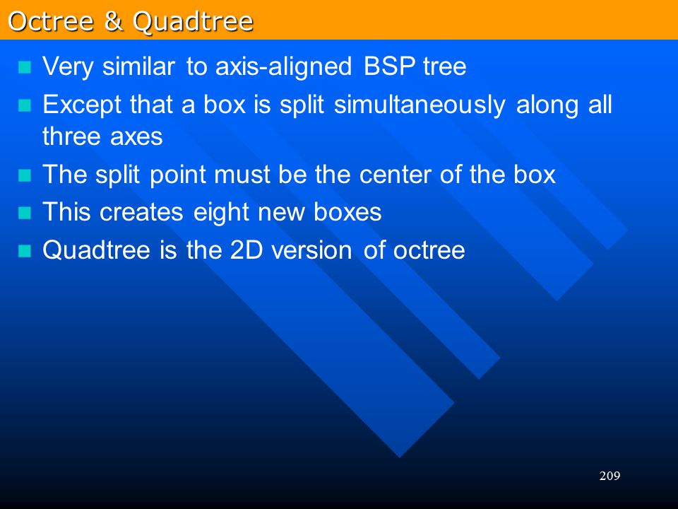209 Very similar to axis-aligned BSP tree Except that a box is split simultaneously along all three axes The split point must be the center of the box