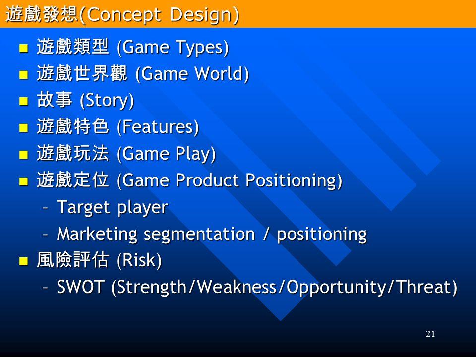 21 遊戲類型 (Game Types) 遊戲類型 (Game Types) 遊戲世界觀 (Game World) 遊戲世界觀 (Game World) 故事 (Story) 故事 (Story) 遊戲特色 (Features) 遊戲特色 (Features) 遊戲玩法 (Game Play) 遊戲