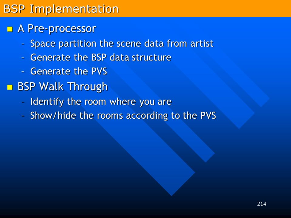 214 A Pre-processor A Pre-processor –Space partition the scene data from artist –Generate the BSP data structure –Generate the PVS BSP Walk Through BS