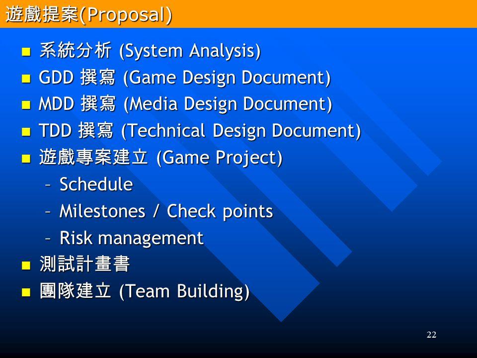 22 系統分析 (System Analysis) 系統分析 (System Analysis) GDD 撰寫 (Game Design Document) GDD 撰寫 (Game Design Document) MDD 撰寫 (Media Design Document) MDD 撰寫 (Me