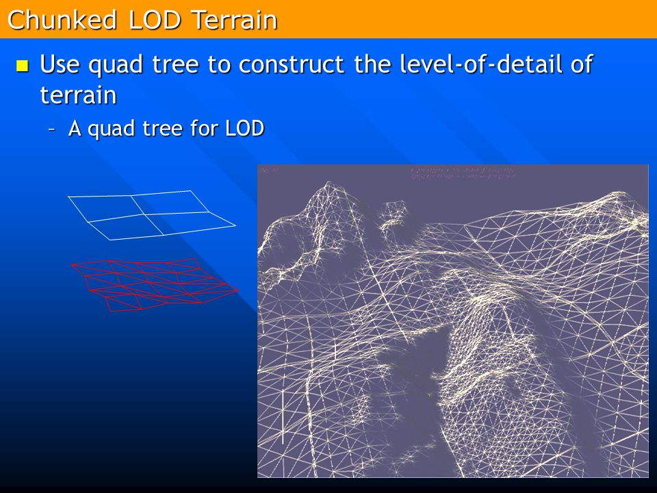 224 Use quad tree to construct the level-of-detail of terrain Use quad tree to construct the level-of-detail of terrain –A quad tree for LOD Chunked L