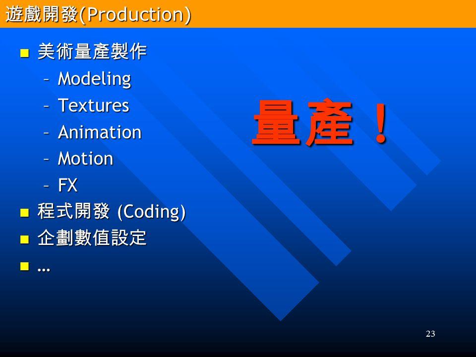 23 美術量產製作 美術量產製作 –Modeling –Textures –Animation –Motion –FX 程式開發 (Coding) 程式開發 (Coding) 企劃數值設定 企劃數值設定 … 量產 ! 遊戲開發 (Production)