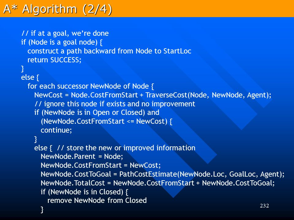 232 A* Algorithm (2/4) // if at a goal, we're done if (Node is a goal node) { construct a path backward from Node to StartLoc return SUCCESS; } else {