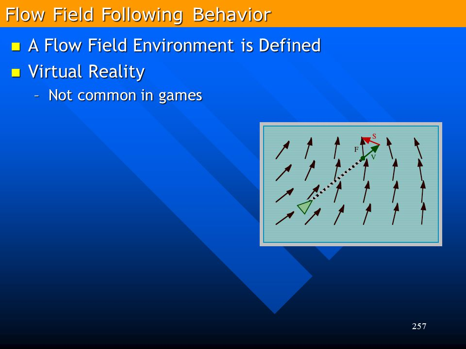 257 A Flow Field Environment is Defined A Flow Field Environment is Defined Virtual Reality Virtual Reality –Not common in games Flow Field Following