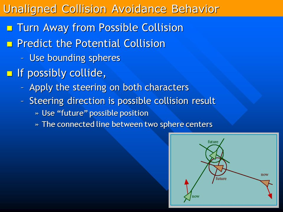 258 Turn Away from Possible Collision Turn Away from Possible Collision Predict the Potential Collision Predict the Potential Collision –Use bounding