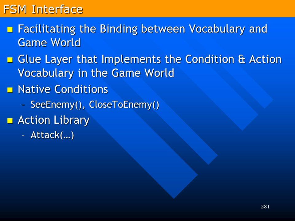 281 FSM Interface Facilitating the Binding between Vocabulary and Game World Facilitating the Binding between Vocabulary and Game World Glue Layer tha