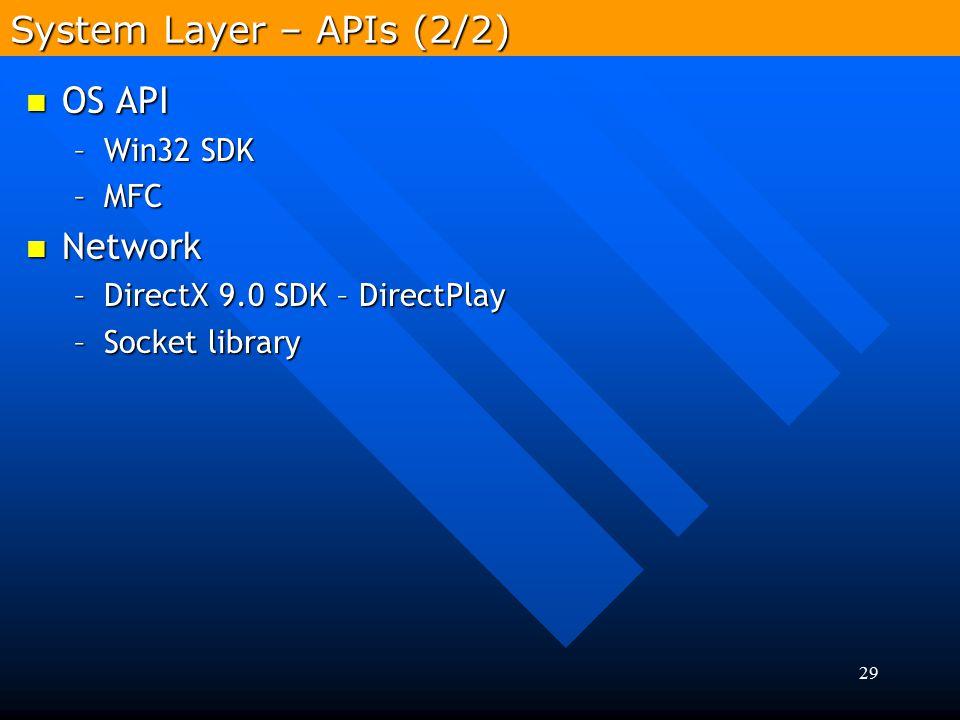 29 OS API OS API –Win32 SDK –MFC Network Network –DirectX 9.0 SDK – DirectPlay –Socket library System Layer – APIs (2/2)