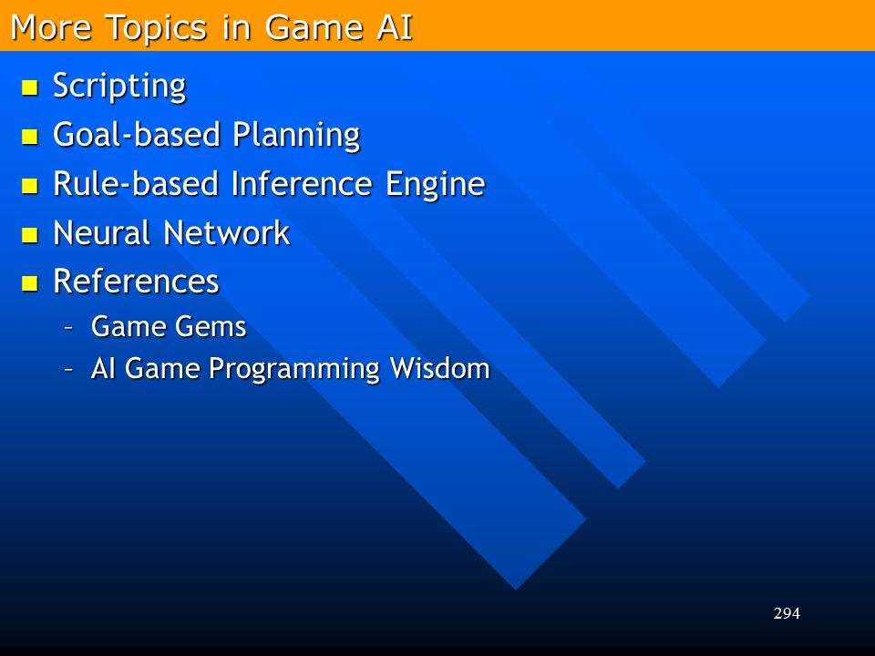 294 More Topics in Game AI Scripting Scripting Goal-based Planning Goal-based Planning Rule-based Inference Engine Rule-based Inference Engine Neural