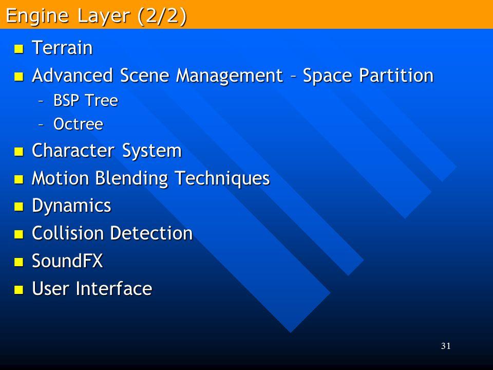 31 Terrain Terrain Advanced Scene Management – Space Partition Advanced Scene Management – Space Partition –BSP Tree –Octree Character System Characte