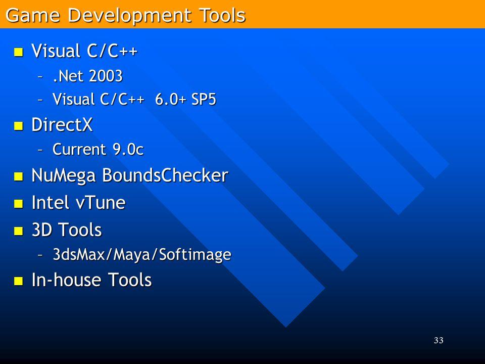 33 Visual C/C++ Visual C/C++ –.Net 2003 –Visual C/C++ 6.0+ SP5 DirectX DirectX –Current 9.0c NuMega BoundsChecker NuMega BoundsChecker Intel vTune Int