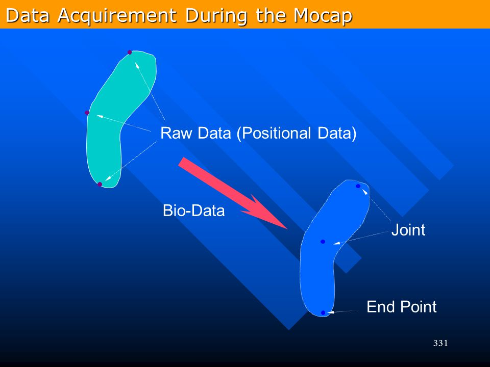 331 Raw Data (Positional Data) Joint End Point Bio-Data Data Acquirement During the Mocap