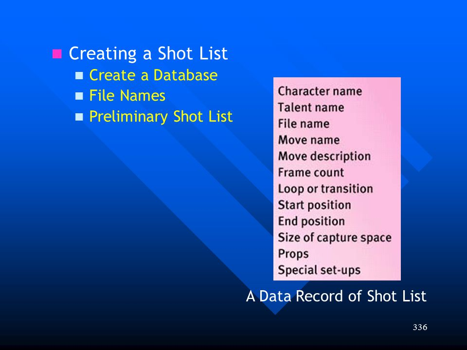 336 Creating a Shot List Create a Database File Names Preliminary Shot List A Data Record of Shot List
