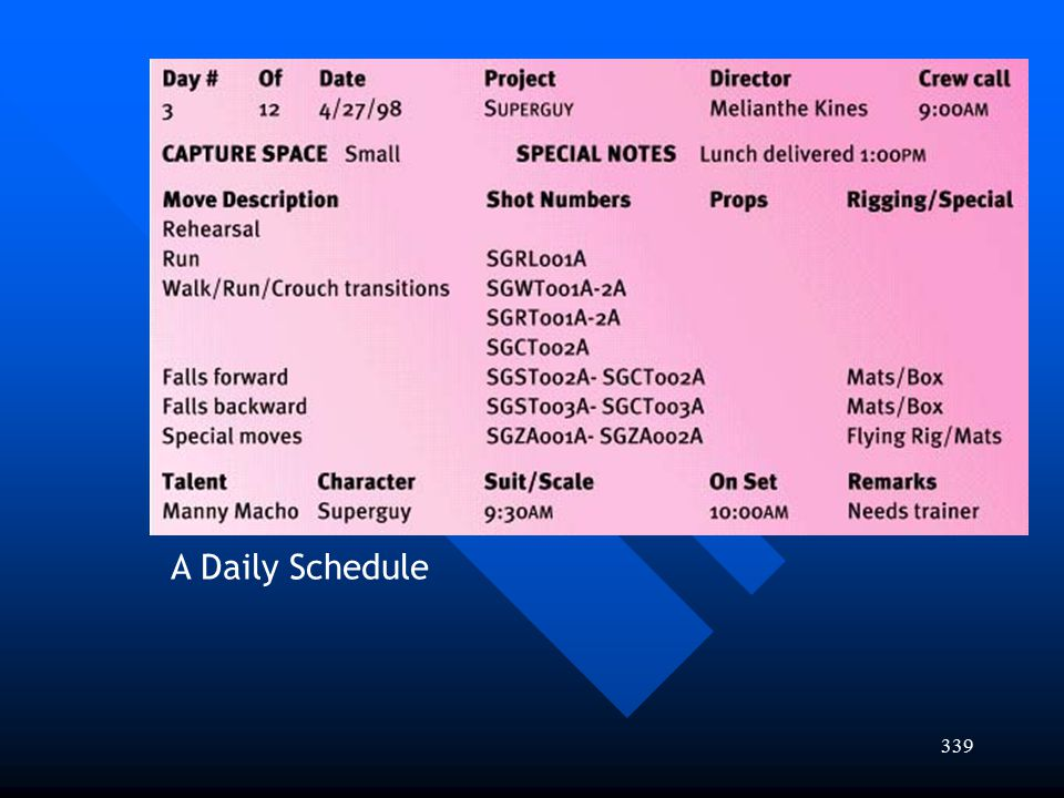 339 A Daily Schedule