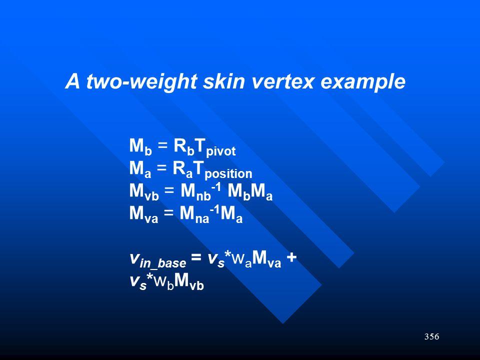 356 M b = R b T pivot M a = R a T position M vb = M nb -1 M b M a M va = M na -1 M a v in_base = v s *w a M va + v s *w b M vb A two-weight skin verte