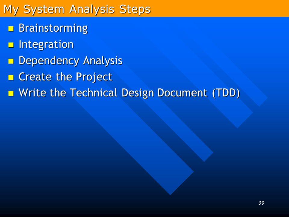 39 Brainstorming Brainstorming Integration Integration Dependency Analysis Dependency Analysis Create the Project Create the Project Write the Technic