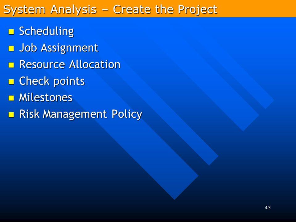 43 Scheduling Scheduling Job Assignment Job Assignment Resource Allocation Resource Allocation Check points Check points Milestones Milestones Risk Ma