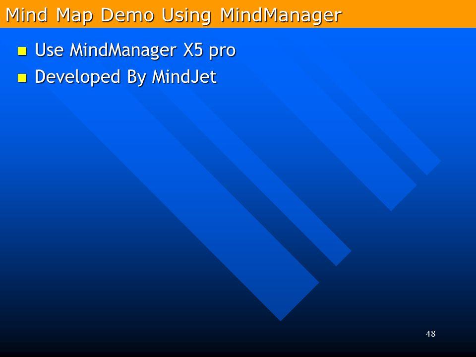 48 Use MindManager X5 pro Use MindManager X5 pro Developed By MindJet Developed By MindJet Mind Map Demo Using MindManager