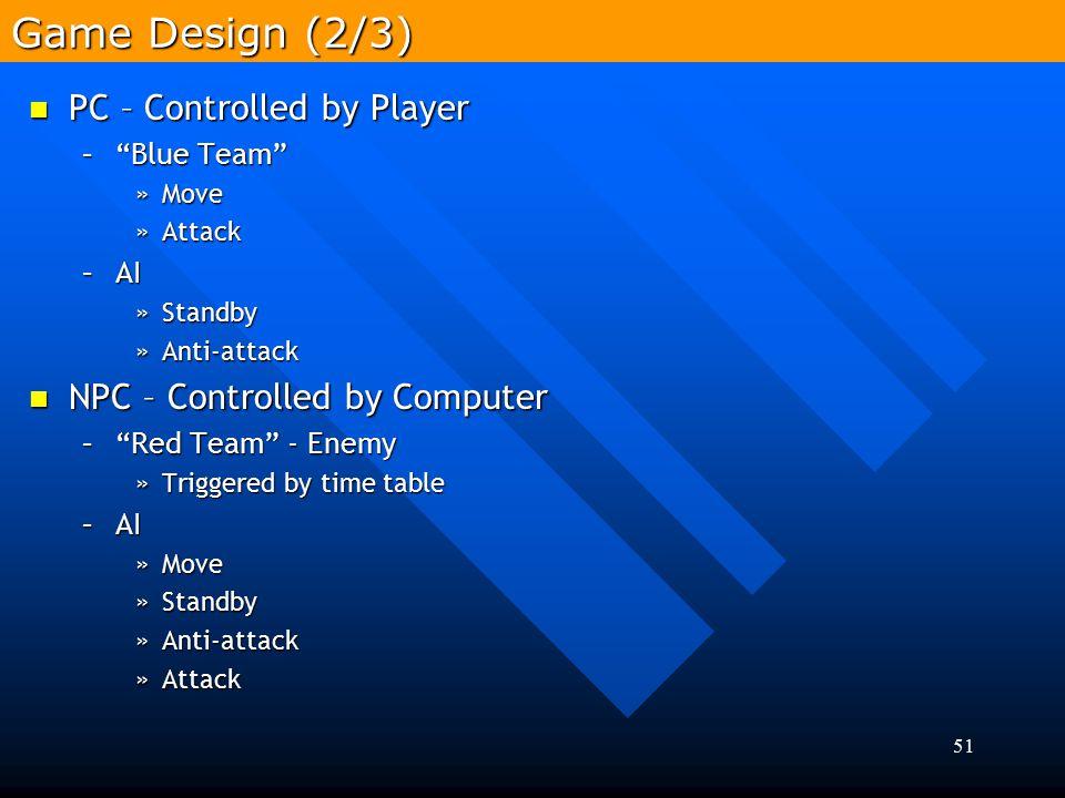 """51 PC – Controlled by Player PC – Controlled by Player –""""Blue Team"""" »Move »Attack –AI »Standby »Anti-attack NPC – Controlled by Computer NPC – Control"""
