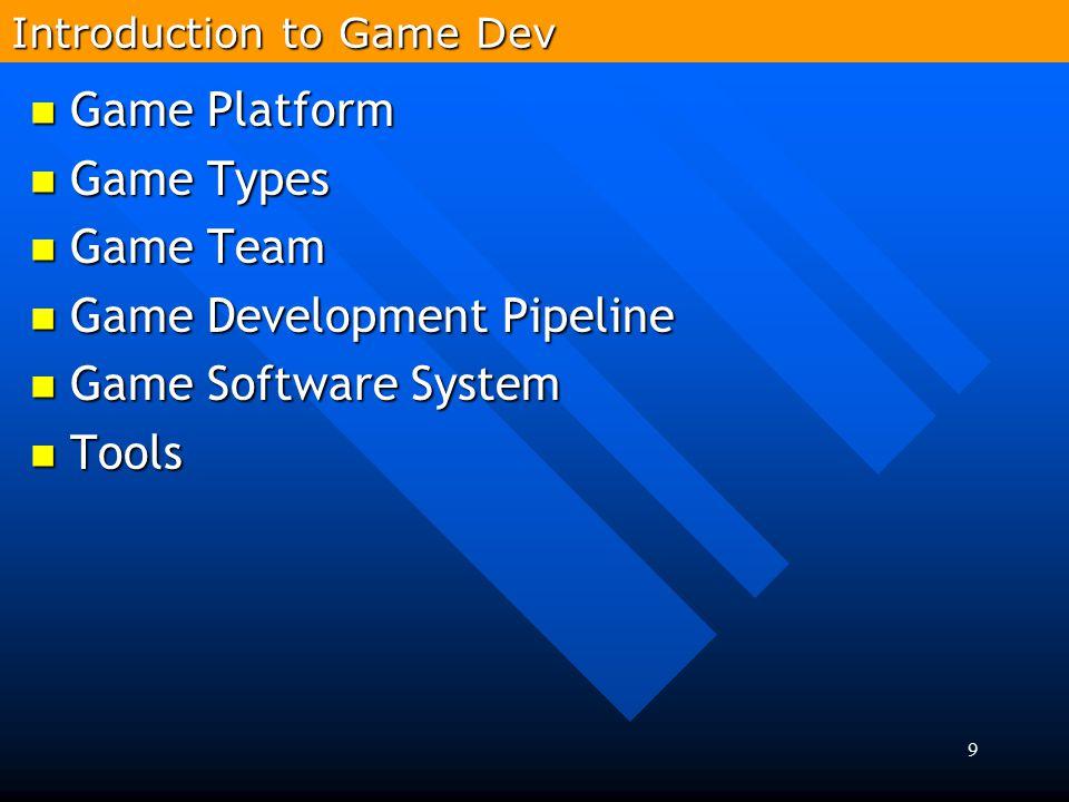 9 Game Platform Game Platform Game Types Game Types Game Team Game Team Game Development Pipeline Game Development Pipeline Game Software System Game