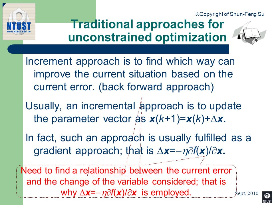 Sept, 2010 ® Copyright of Shun-Feng Su 14 Traditional approaches for unconstrained optimization Increment approach is to find which way can improve th