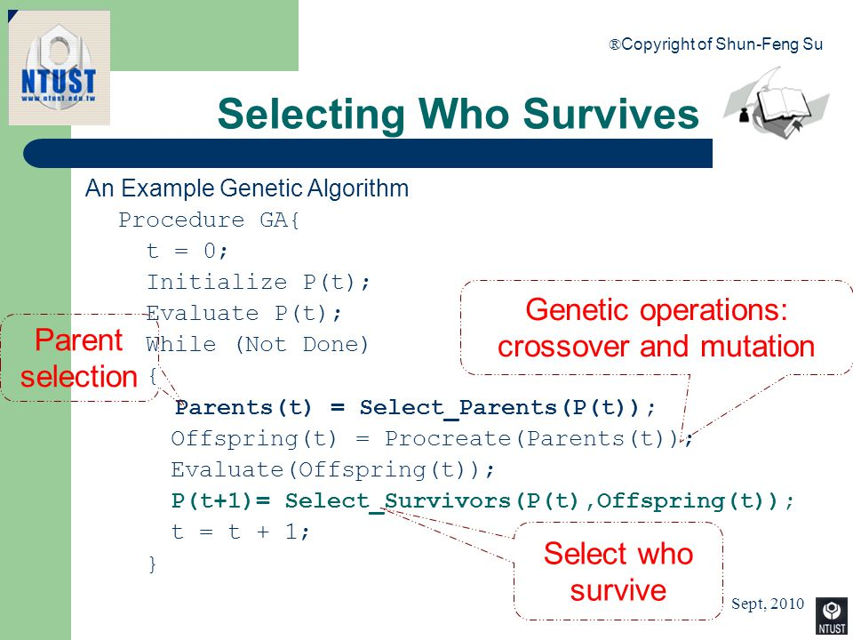 Sept, 2010 ® Copyright of Shun-Feng Su 46 Selecting Who Survives An Example Genetic Algorithm Procedure GA{ t = 0; Initialize P(t); Evaluate P(t); Whi