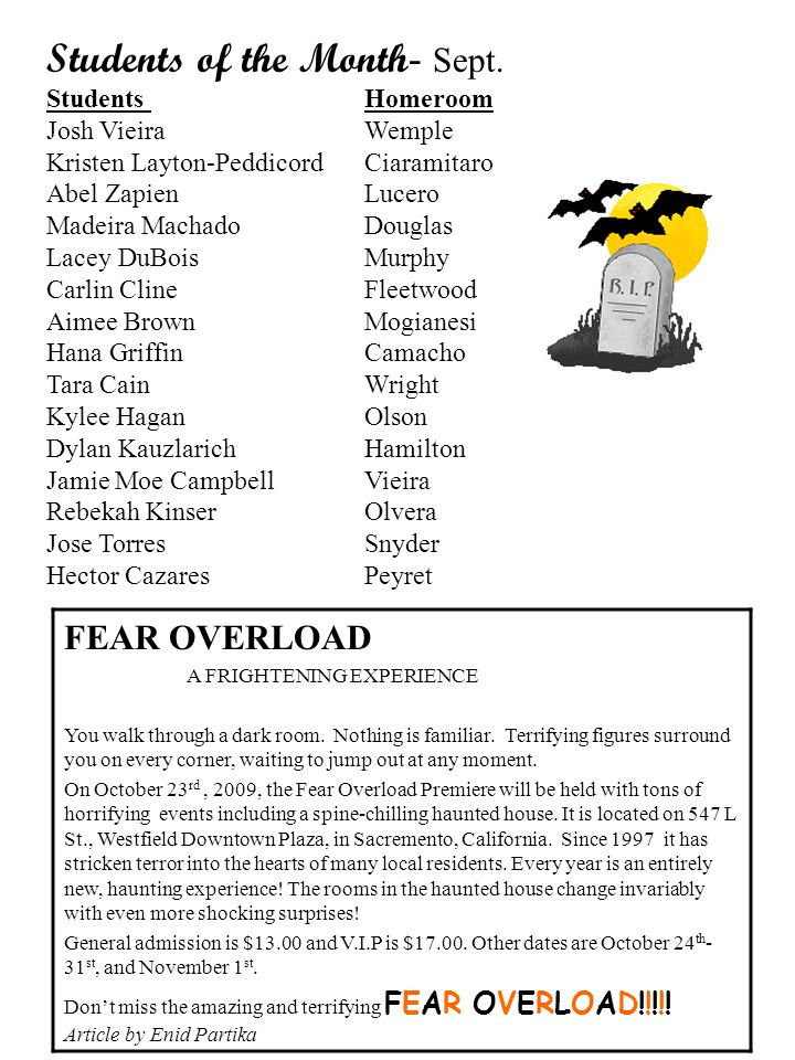 FEAR OVERLOAD A FRIGHTENING EXPERIENCE You walk through a dark room.