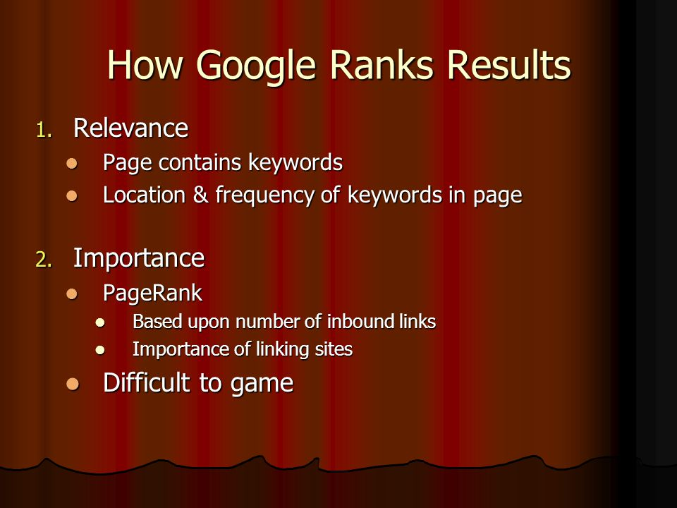 How Google Ranks Results 1.
