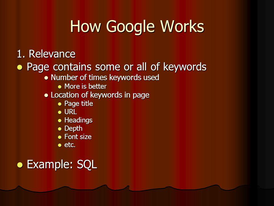 How Google Works Google: sql Google: sql