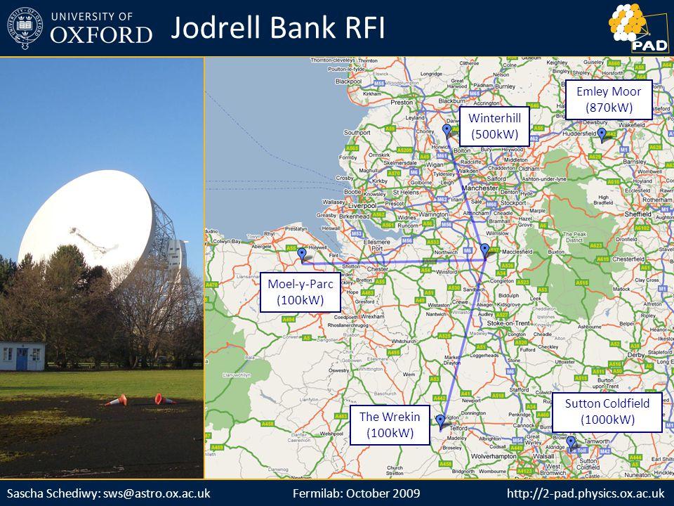 http://2-pad.physics.ox.ac.ukSascha Schediwy: sws@astro.ox.ac.uk http://2-pad.physics.ox.ac.uk Jodrell Bank RFI Winterhill (500kW) Moel-y-Parc (100kW) The Wrekin (100kW) Sutton Coldfield (1000kW) Emley Moor (870kW) Fermilab: October 2009