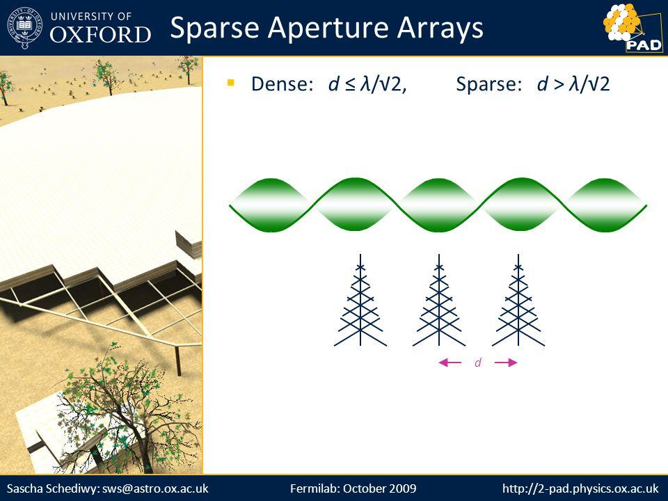 http://2-pad.physics.ox.ac.ukSascha Schediwy: sws@astro.ox.ac.uk d  Dense: d ≤ λ/√2, Sparse: d > λ/√2 Sparse Aperture Arrays Fermilab: October 2009