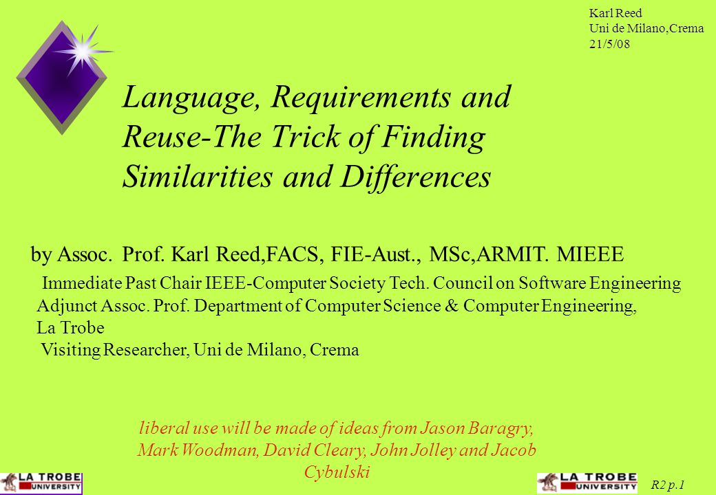 Karl Reed Uni de Milano,Crema 21/5/08 R2 p.1 Language, Requirements and Reuse-The Trick of Finding Similarities and Differences Immediate Past Chair IEEE-Computer Society Tech.