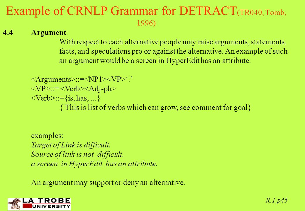 02/06/97 R.1 p45 Example of CRNLP Grammar for DETRACT (TR040, Torab, 1996) 4.4 Argument With respect to each alternative people may raise arguments, statements, facts, and speculations pro or against the alternative.