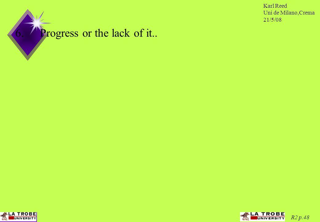 Karl Reed Uni de Milano,Crema 21/5/08 R2 p.48 6.Progress or the lack of it..