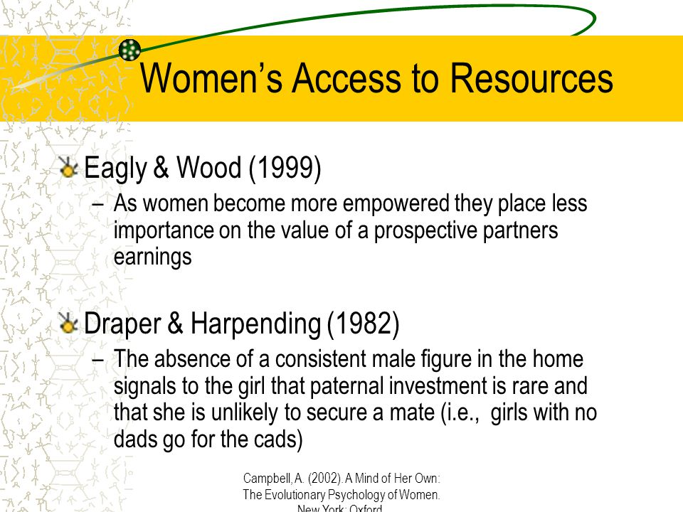 Campbell, A. (2002). A Mind of Her Own: The Evolutionary Psychology of Women. New York: Oxford. Women's Access to Resources Eagly & Wood (1999) –As wo