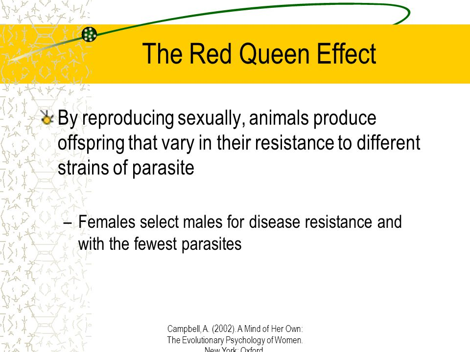 Campbell, A. (2002). A Mind of Her Own: The Evolutionary Psychology of Women. New York: Oxford. The Red Queen Effect By reproducing sexually, animals