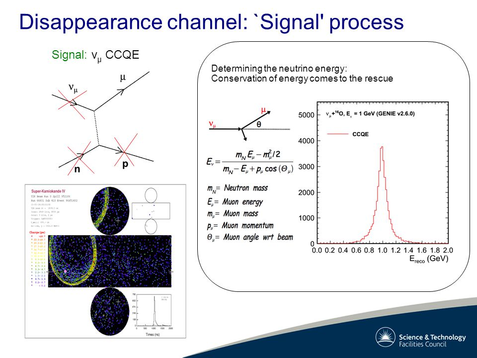 Disappearance channel: `Signal' process Determining the neutrino energy: Conservation of energy comes to the rescue Signal: v μ CCQE