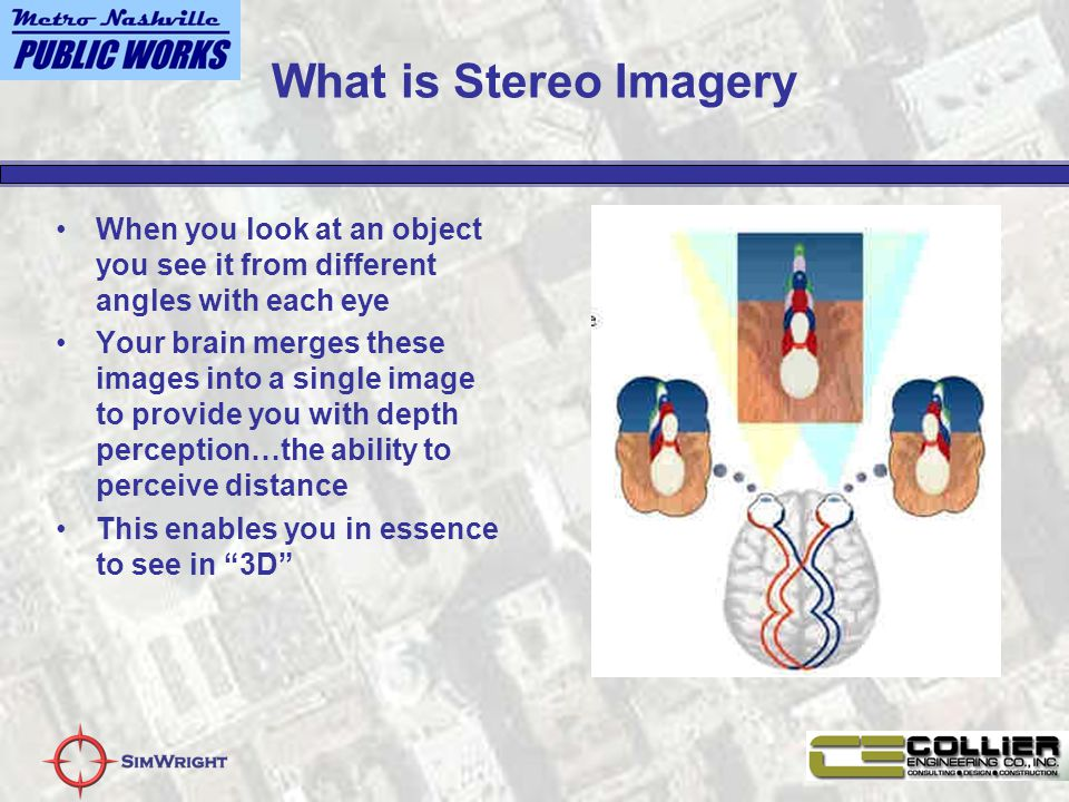 What is Stereo Imagery When you look at an object you see it from different angles with each eye Your brain merges these images into a single image to provide you with depth perception…the ability to perceive distance This enables you in essence to see in 3D