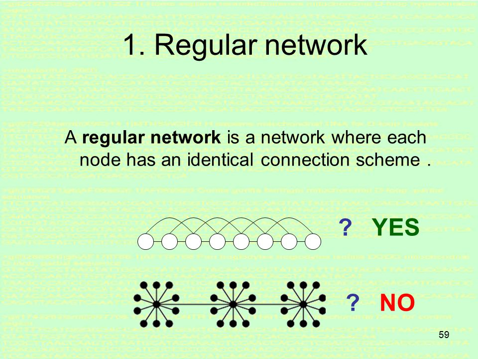 58 Special Network Topologies In many situations networks can have a special structure (topology) or properties.