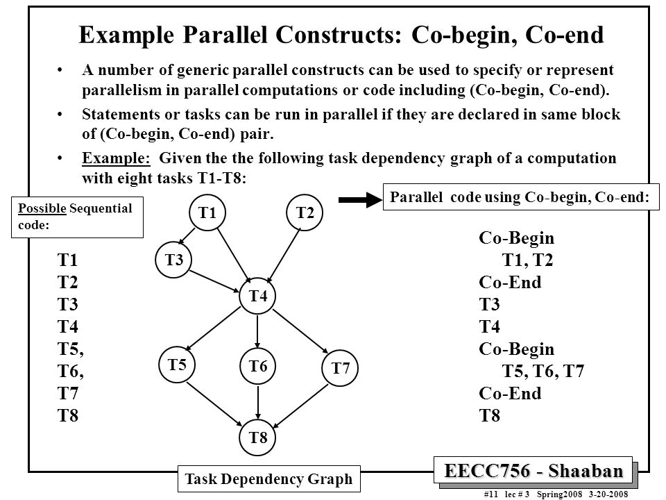 EECC756 - Shaaban #11 lec # 3 Spring2008 3-20-2008 Example Parallel Constructs: Co-begin, Co-end A number of generic parallel constructs can be used t