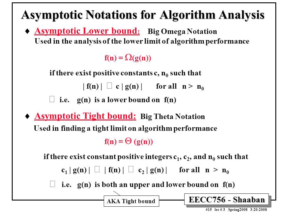 EECC756 - Shaaban #15 lec # 3 Spring2008 3-20-2008 Asymptotic Notations for Algorithm Analysis  Asymptotic Lower bound : Big Omega Notation Used in the analysis of the lower limit of algorithm performance f(n) =  (g(n)) if there exist positive constants c, n 0 such that | f(n) |  c | g(n) | for all n > n 0  i.e.