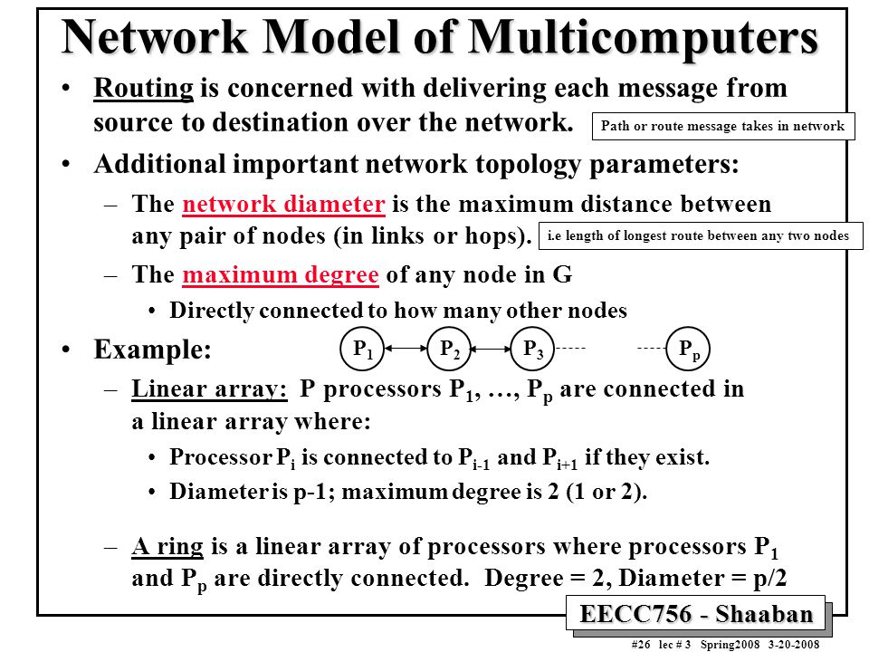 EECC756 - Shaaban #26 lec # 3 Spring2008 3-20-2008 Network Model of Multicomputers Routing is concerned with delivering each message from source to destination over the network.