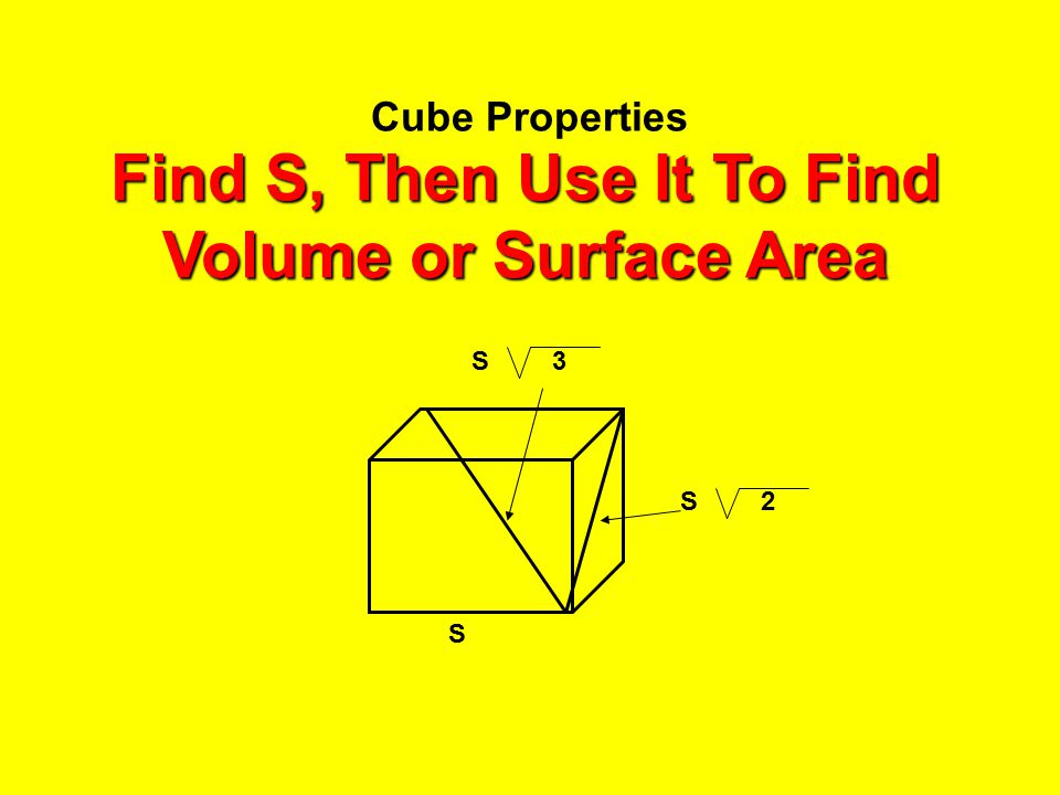 Cube Properties 2 S 3S S Find S, Then Use It To Find Volume or Surface Area