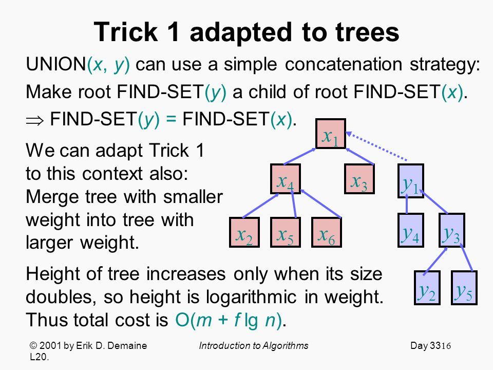 16 Trick 1 adapted to trees UNION(x, y) can use a simple concatenation strategy: Make root FIND-SET(y) a child of root FIND-SET(x).