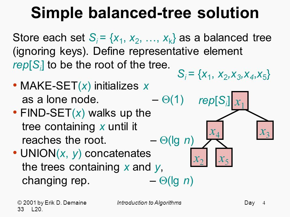 15 Representing sets as trees Store each set S i = {x 1, x 2, …, x k } as an unordered, potentially unbalanced, not necessarily binary tree, storing only parent pointers.
