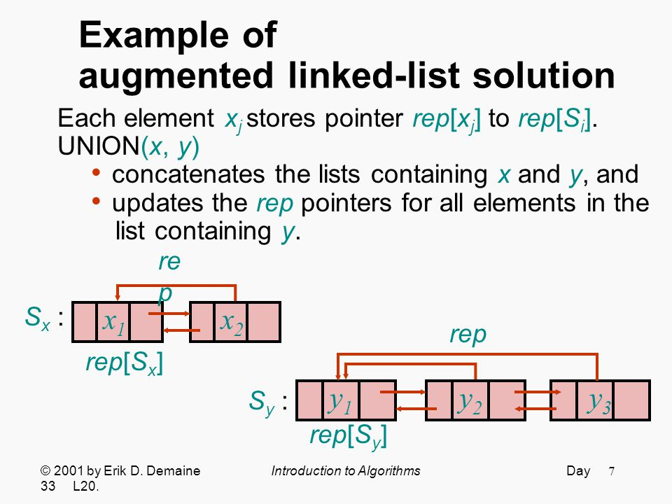 8 Example of augmented linked-list solution Each element x j stores pointer rep[x j ] to rep[S i ].