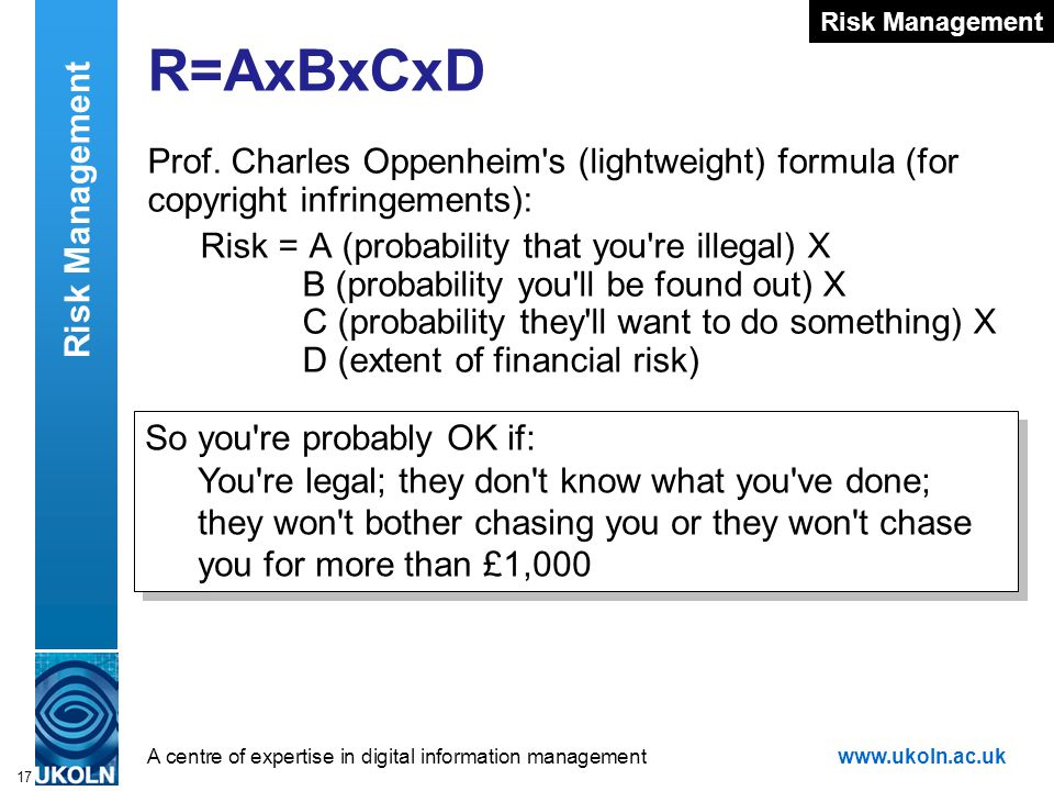 A centre of expertise in digital information managementwww.ukoln.ac.uk 17 R=AxBxCxD Prof. Charles Oppenheim's (lightweight) formula (for copyright inf