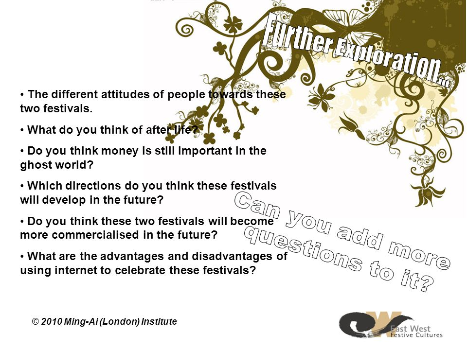 The different attitudes of people towards these two festivals.